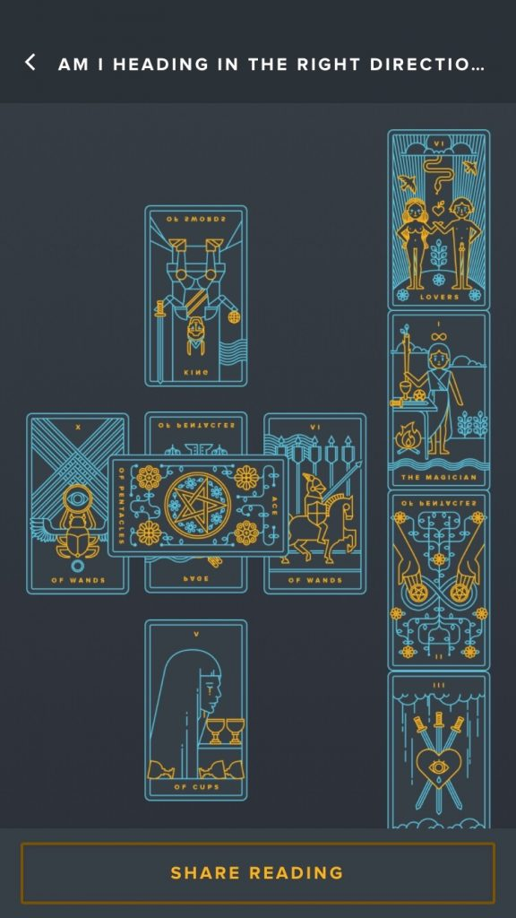 Golden Tread Tarot reading inside application